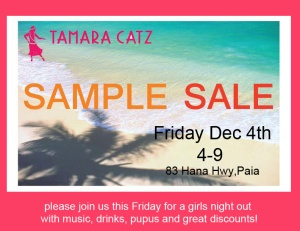sample sale invitation dec 15